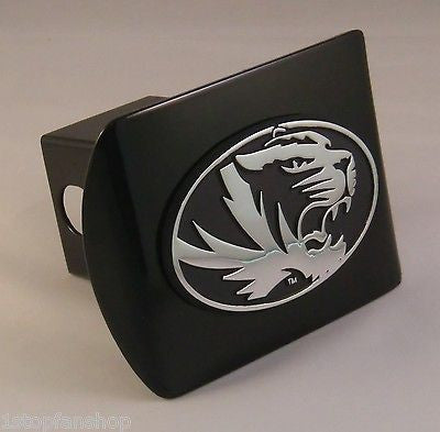 Missouri Tigers Chrome Metal Black Hitch Cover (Oval Tiger) NCAA
