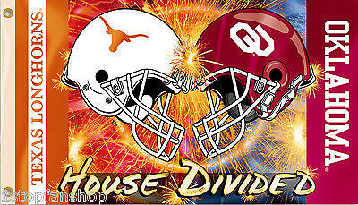 Oklahoma Sooners Texas Longhorns 3' x 5' House Divided Flag (Football Helmets) NCAA