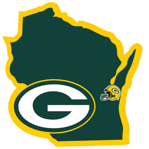 Green Bay Packers Home State Vinyl Auto Decal (NFL) Wisconsin Shape