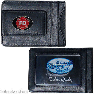 Firefighter Department Fine Leather Money Clip (Occupational) Card & Cash Holder