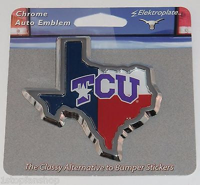 TCU Horned Frogs Chrome Metal Auto Emblem (TX Shape Texas Flag) NCAA