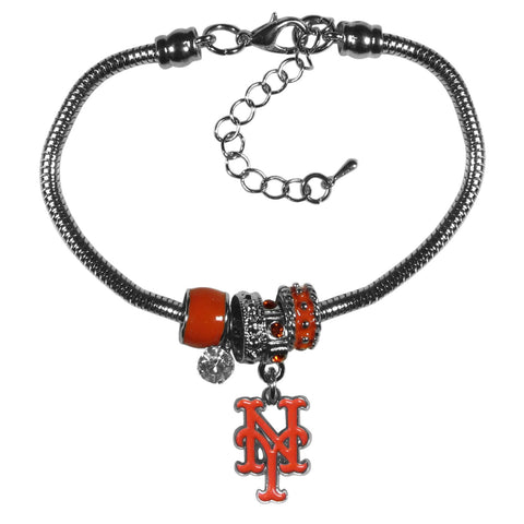 New York Mets Snake Chain Bracelet with Euro Beads MLB Jewelry