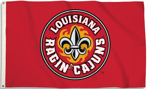 Louisiana Lafayette Ragin Cajuns 3' x 5' Flag (Logo Only on Red) NCAA
