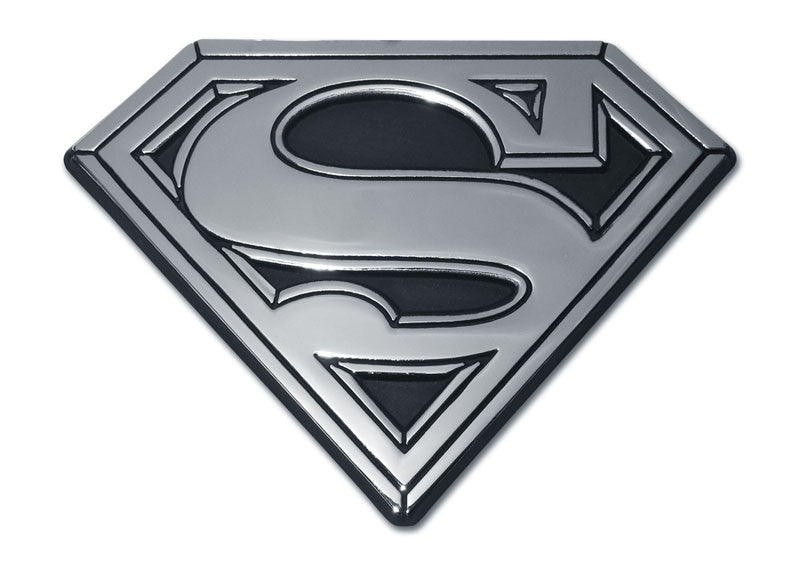 "Superman Chrome Auto Emblem (""S"" with Black Fill) DC Comics"