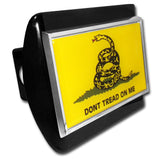 Don't Tread On Me Chrome Metal Black Hitch Cover (Gadsden Flag)