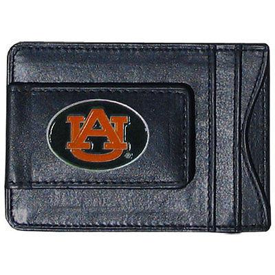 Auburn Tigers Fine Leather Money Clip (NCAA) Card & Cash Holder (Oval)