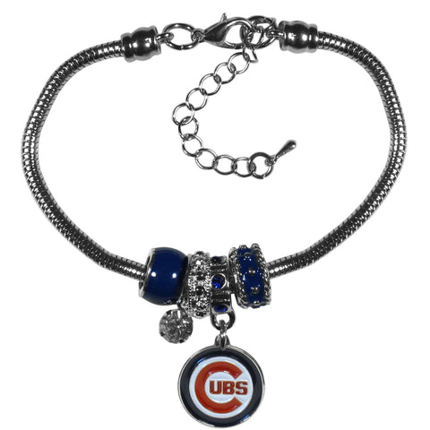 Chicago Cubs Snake Chain Bracelet with Euro Beads MLB