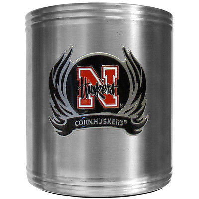 Nebraska Cornhuskers Insulated Stainless Steel Can Cooler Coozie (Flames) (NCAA)