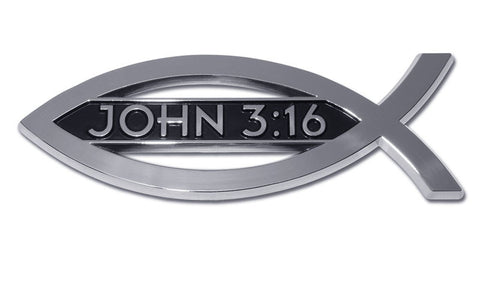 Christian Fish Chrome Auto Emblem (John 3:16)