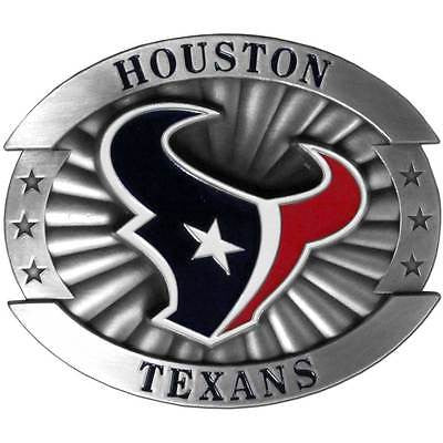 "Houston Texans Over-sized 4"" Pewter Metal Belt Buckle (NFL)"
