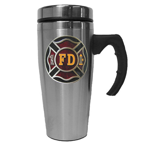Fire Fighter Department 14 oz Stainless Steel Travel Mug with Handle (Occupational)