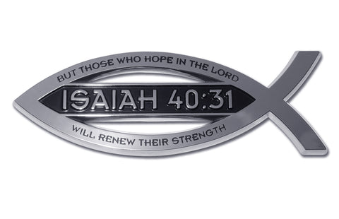Christian Fish Chrome Auto Emblem (Isaiah 40:31 Scripture)