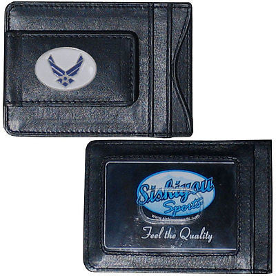 U.S. Air Force Fine Leather Money Clip (Military) Card & Cash Holder