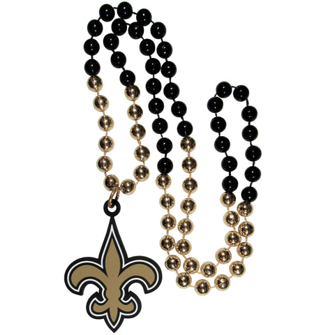 New Orleans Saints Mardi Gras Beads Necklace with Team Logo - NFL