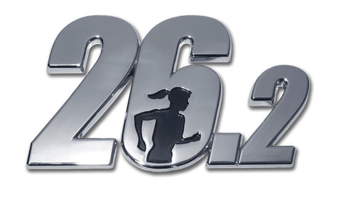 26.2 Chrome 3-D Female Runner Auto Emblem (Full Marathon)