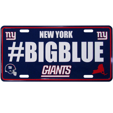 New York Giants Stamped Aluminum License Plate #BIGBLUE (NFL)