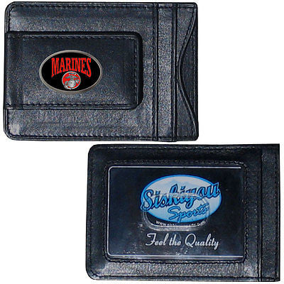 U.S. Marine Corps Fine Leather Money Clip (Military) Card & Cash Holder (Domed)