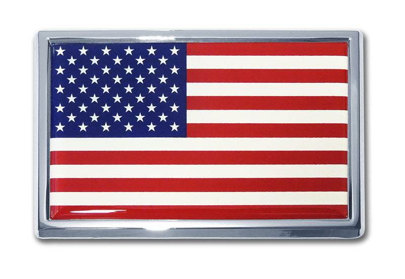 United States Of America Flag Chrome Metal Auto Emblem (National Flag) Car Size