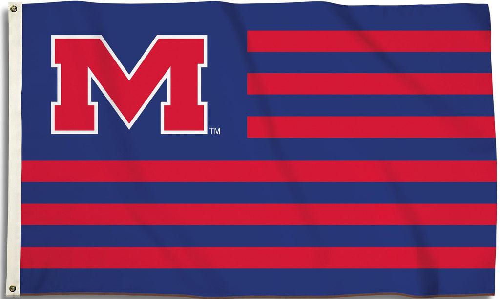 Ole Miss Rebels 3' x 5' Flag (Stripes w/ Block M Logo) NCAA