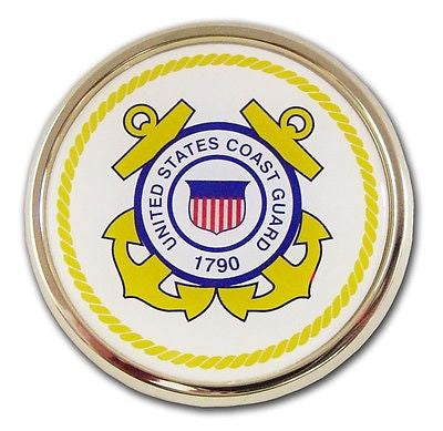 U.S. Coast Guard Chrome Auto Emblem (Gold Seal)