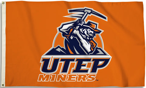 Texas El Paso UTEP Miners 3' x 5' Flag (Logo Only on Orange) NCAA