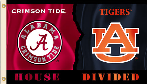 Alabama Crimson Tide Auburn Tigers 3' x 5' House Divided Flag NCAA