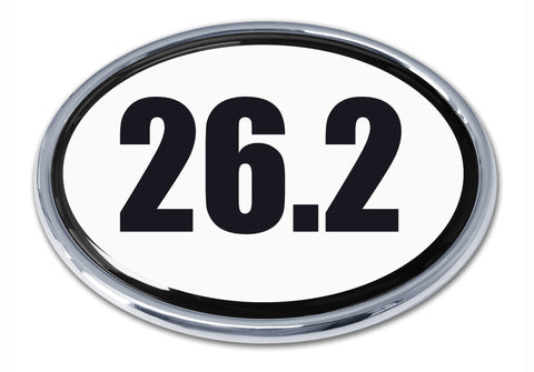 26.2 B&W Oval Chrome Metal Auto Emblem (Full Marathon)