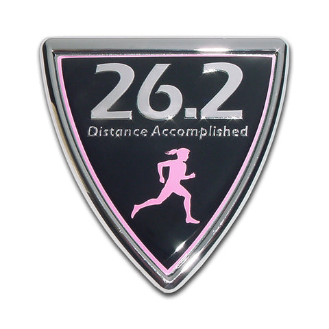 26.2 Shield Female Runner Chrome Metal Auto Emblem (Full Marathon)