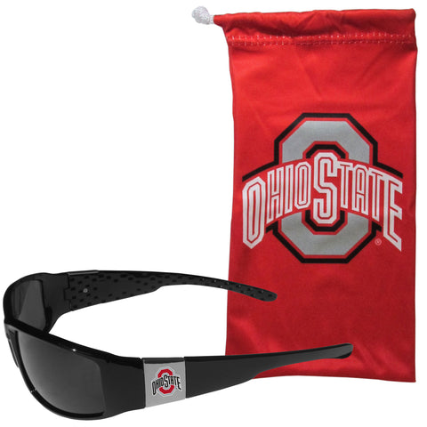 Ohio State Buckeyes Chrome Wrap Sunglasses with Microfiber Bag (NCAA)