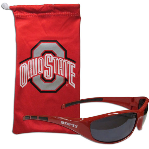 Ohio State Buckeyes Wrap Sunglasses with Microfiber Bag (NCAA)