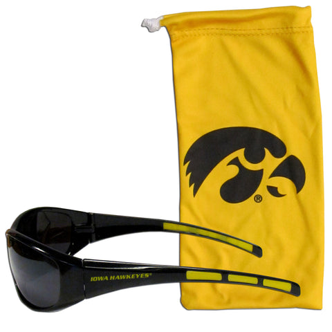 Iowa Hawkeyes Wrap Sunglasses with Microfiber Bag (NCAA)