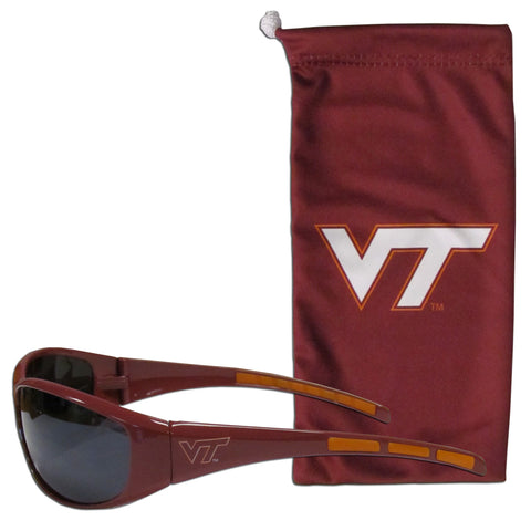 Virginia Tech Hokies Wrap Sunglasses with Microfiber Bag (NCAA)