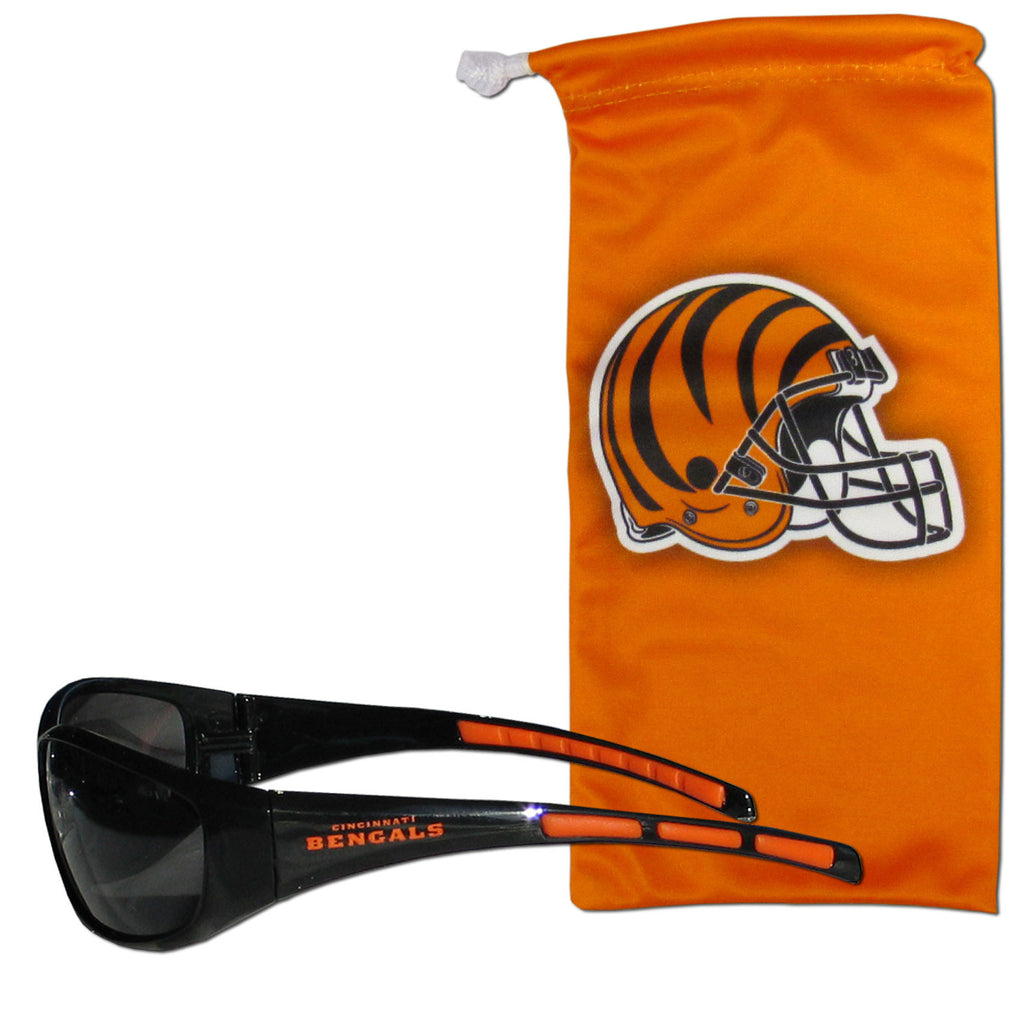 Cincinnati Bengals Wrap Sunglasses with Microfiber Bag (NFL)