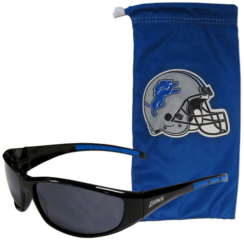 Detroit Lions Wrap Sunglasses with Microfiber Bag (NFL)