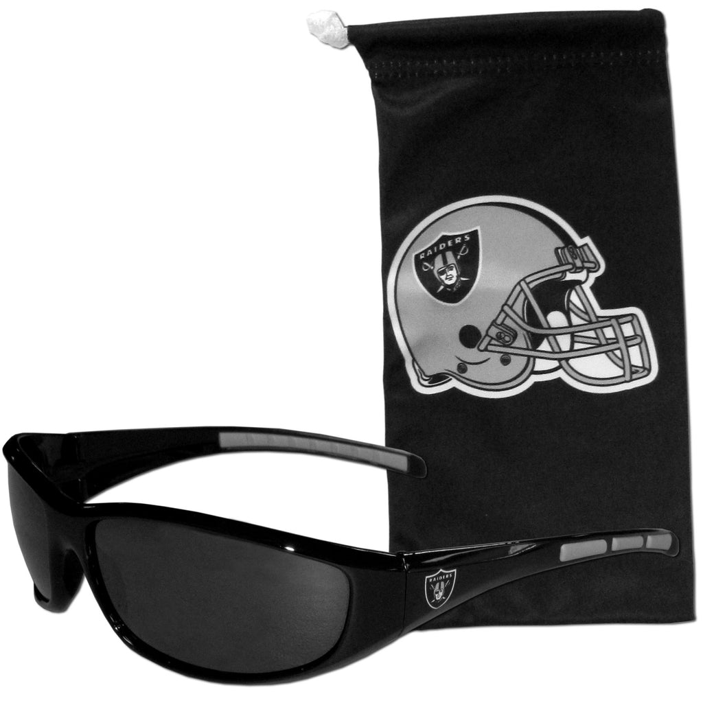 Oakland Raiders Wrap Sunglasses with Microfiber Bag (NFL)