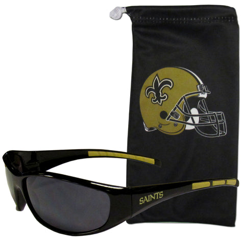 New Orleans Saints Wrap Sunglasses with Microfiber Bag (NFL)