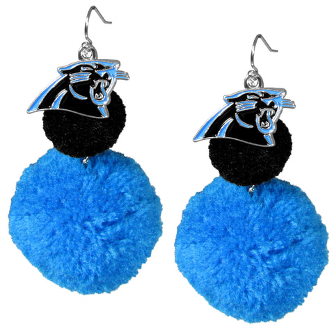 Carolina Panthers Dangle Pom Pom Earrings (NFL Football)