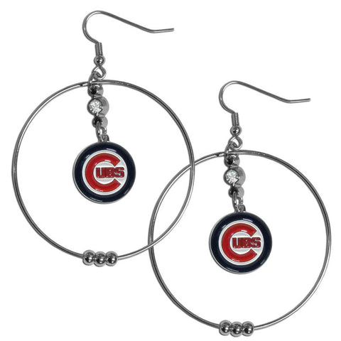 Chicago Cubs 2 inch Hoop Earrings MLB Licensed Baseball Jewelry