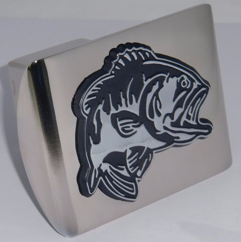 Bass Fish Shiny Chrome Metal Hitch Cover