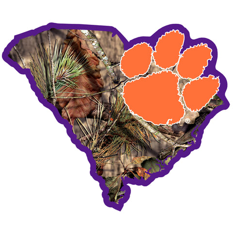 Clemson Tigers Mossy Oak Camo S. Carolina State Shape Vinyl Auto Decal NCAA