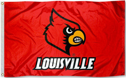 Louisville Cardinals 3' x 5' Flag (Logo w/ Wordmark on Red) NCAA