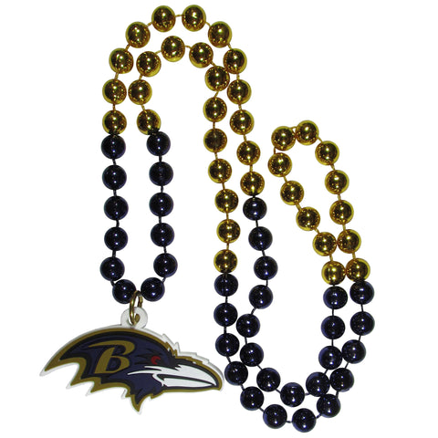 Baltimore Ravens Mardi Gras Beads Necklace with Team Logo - NFL Football