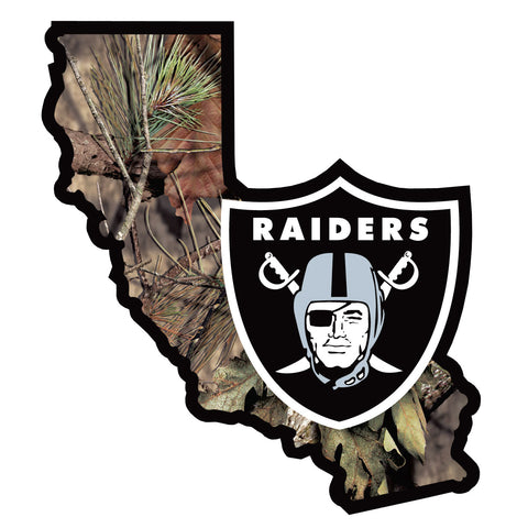 Oakland Raiders Mossy Oak Camo Vinyl Auto Decal (NFL) California State Shape