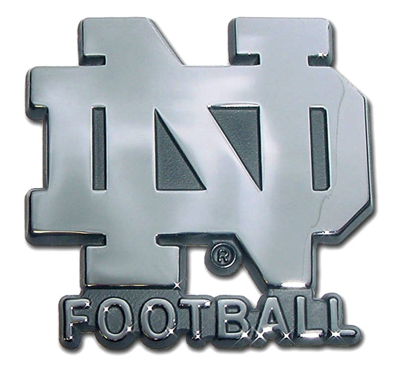 "Notre Dame Fighting Irish Chrome Metal Auto Emblem (""ND"" w/ Football) NCAA"