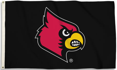 Louisville Cardinals 3' x 5' Flag (Logo Only on Black) NCAA