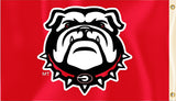Georgia Bulldogs 3' x 5' Flag (Bulldog Logo Only on Red) NCAA
