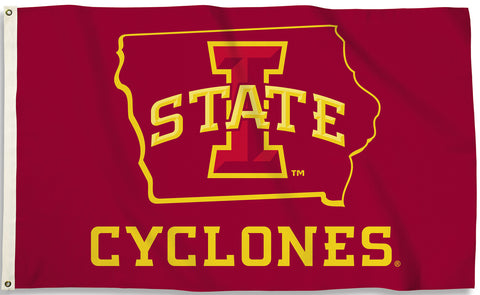 Iowa State Cyclones 3' x 5' Flag (State Outline) NCAA