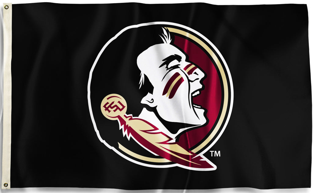 Florida State Seminoles 3' x 5' Flag (Logo Only on Black) NCAA