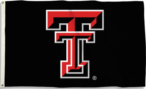 Texas Tech Red Raiders 3' x 5' Flag (Logo Only on Black) NCAA
