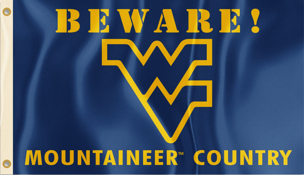 West Virginia Mountaineers 3' x 5' Flag (Beware Mountaineer Country) NCAA